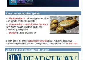 Bead & Button nieuwsbrief van 18 mei 2010
