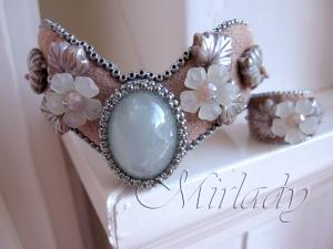 Armband aqua-mink met bijpassende vinger cuff - © 2012 Mirlady® - Miranda Groenendaal