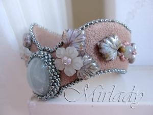 Armband aqua-mink met bijpassende vinger cuff - © 2012 Mirlady® - Miranda Groenendaall