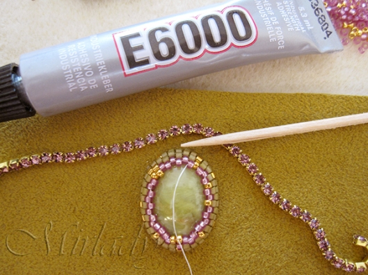 how to Strassketting om een cabochon 2
